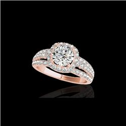 2.25 ctw Certified Diamond Solitaire Halo Ring 10K Rose Gold