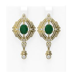 11.24 ctw Emerald & Diamond Earrings 18K Yellow Gold