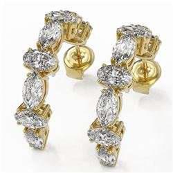 4.16 ctw Oval Cut Diamond Designer Earrings 18K Yellow Gold