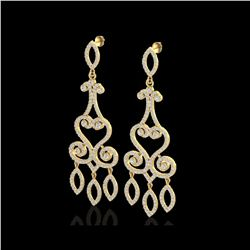 3.25 ctw VS/SI Diamond Micro Pave Designer Earrings 14K Yellow Gold
