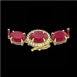 54.25 ctw Ruby & VS/SI Diamond Eternity Micro Necklace 14K Yellow Gold