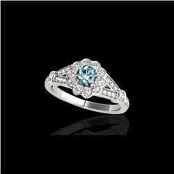 1.9 ctw SI Certified Fancy Blue Diamond Solitaire Halo Ring 10K White Gold