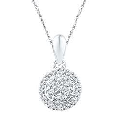 10kt White Gold Round Diamond Halo Flower Cluster Pendant 1/4 Cttw