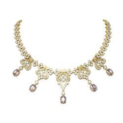 37.86 ctw Morganite & Diamond Necklace 18K Yellow Gold