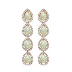 6.2 ctw Opal & Diamond Micro Pave Halo Earrings 10K Rose Gold