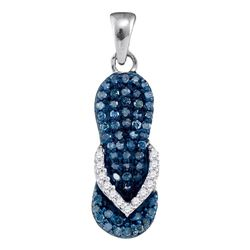10k White Gold Blue Color Enhanced Round Diamond Flip Flop Sandal Nautical Shoe Pendant 1/3 Cttw
