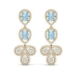 9.55 ctw Sky Topaz & VS Diamond Earrings 18K Yellow Gold