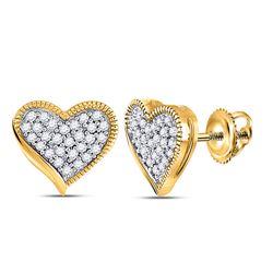 10kt Yellow Gold Round Diamond Heart Earrings 1/5 Cttw