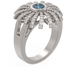 1.5 ctw Intense Blue Diamond Ring 18K White Gold