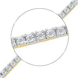 10kt Yellow Gold Round Diamond Miracle Fashion Bracelet 1/4 Cttw