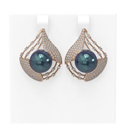 2.3 ctw Diamond and Pearl Earrings 18K Rose Gold