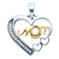 Sterling Silver Yellow-tone Round Diamond Mom Mother Heart Pendant 1/20 Cttw