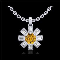 1.33 ctw Intense Fancy Yellow Diamond Art Deco Necklace 18K White Gold