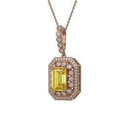 5.82 ctw Canary Citrine & Diamond Victorian Necklace 14K Rose Gold
