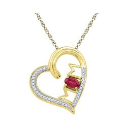 10k Yellow Gold Lab-created Ruby & Diamond Heart Mom Mother Love Pendant 5/8 Cttw