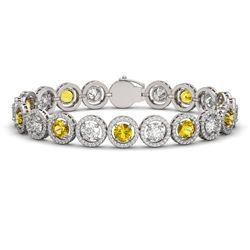 15.47 ctw Canary & Diamond Micro Pave Bracelet 18K White Gold