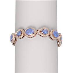 36.75 ctw Tanzanite & Diamond Bracelet 18K Rose Gold