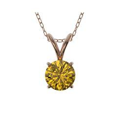 .50 ctw Certified Intense Yellow Diamond Necklace 10K Rose Gold