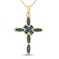 10kt Yellow Gold Round Blue Color Enhanced Diamond Cross Pendant 1/5 Cttw