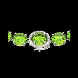 148 ctw Peridot & VS/SI Diamond Halo Micro Necklace 14K White Gold