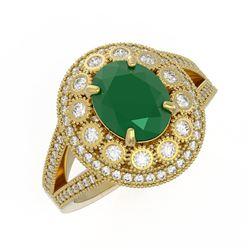 4.55 ctw Certified Emerald & Diamond Victorian Ring 14K Yellow Gold