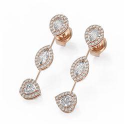2.37 ctw Mix Cut Diamonds Designer Earrings 18K Rose Gold