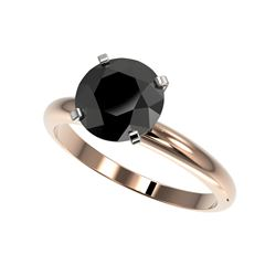 2.59 ctw Fancy Black Diamond Solitaire Engagement Ring 10K Rose Gold
