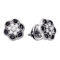 10k White Gold Black Color Enhanced Diamond Flower Cluster Stud Earrings 1/3 Cttw