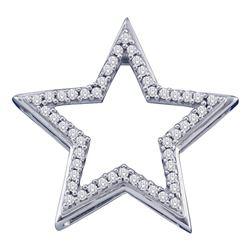 10kt White Gold Round Diamond Star Frame Outline Pendant 1/6 Cttw
