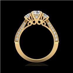 1.81 ctw VS/SI Diamond Art Deco 3 Stone Ring 18K Yellow Gold