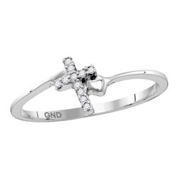 Sterling Silver Round Diamond Delicate Slender Cross Religious Ring 1/20 Cttw