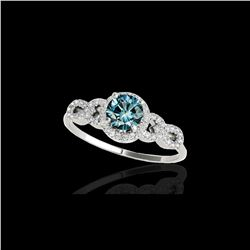 1.33 ctw SI Certified Fancy Blue Diamond Solitaire Ring 10K White Gold