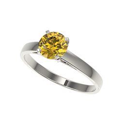 1.06 ctw Certified Intense Yellow Diamond Engagement Ring 10K White Gold