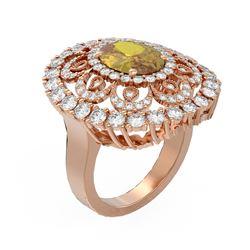 5.61 ctw Canary Citrine & Diamond Ring 18K Rose Gold