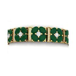 48.04 ctw Emerald & VS Diamond Bracelet 18K Yellow Gold