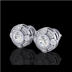 1.5 ctw VS/SI Diamond Solitaire Art Deco Stud Earrings 18K White Gold