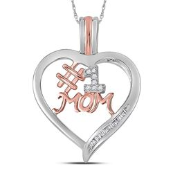Sterling Silver Round Diamond Rose-tone #1 Mom Mother Heart Pendant 1/12 Cttw