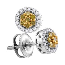 10kt White Gold Round Yellow Color Enhanced Diamond Cluster Earrings 1/4 Cttw