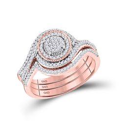 10kt Rose Gold Round Diamond Circle Cluster Bridal Wedding Engagement Ring Band Set 1/3 Cttw