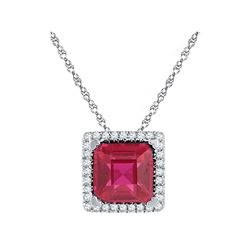 10kt White Gold Cushion Lab-Created Ruby Solitaire Diamond Pendant 1-7/8 Cttw