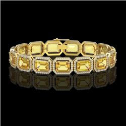 34.91 ctw Fancy Citrine & Diamond Micro Pave Halo Bracelet 10K Yellow Gold