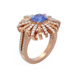 2.98 ctw Tanzanite & Diamond Ring 18K Rose Gold