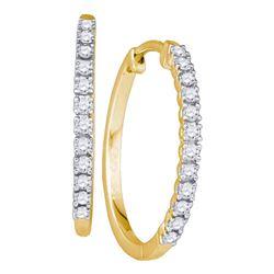 10kt Yellow Gold Round Diamond Slender Single Row Hoop Earrings 1/4 Cttw