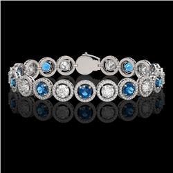 13.56 ctw Blue & Diamond Micro Pave Bracelet 18K White Gold