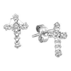 10kt White Gold Round Diamond Cross Religious Stud Earrings 1/20 Cttw