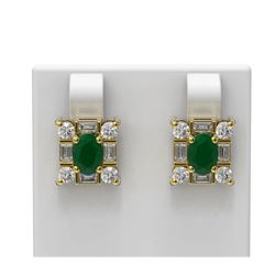 3.83 ctw Emerald & Diamond Earrings 18K Yellow Gold