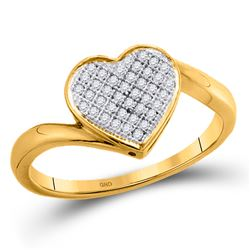 10kt Yellow Gold Round Diamond Heart Cluster Ring 1/20 Cttw