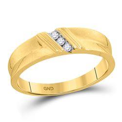 10kt Yellow Gold Mens Round Diamond Wedding Band Ring 1/20 Cttw