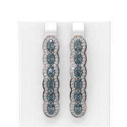 7.21 ctw Blue Topaz & Diamond Earrings 18K White Gold