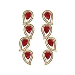 16.44 ctw Designer Ruby & VS Diamond Earrings 18K Yellow Gold